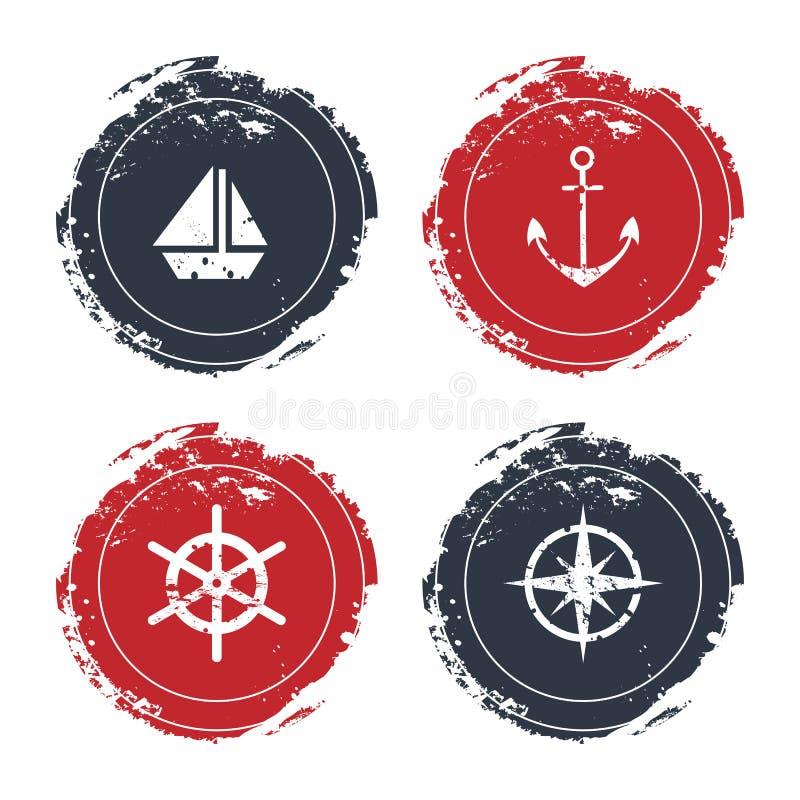 Symboler på det marin- temat stock illustrationer