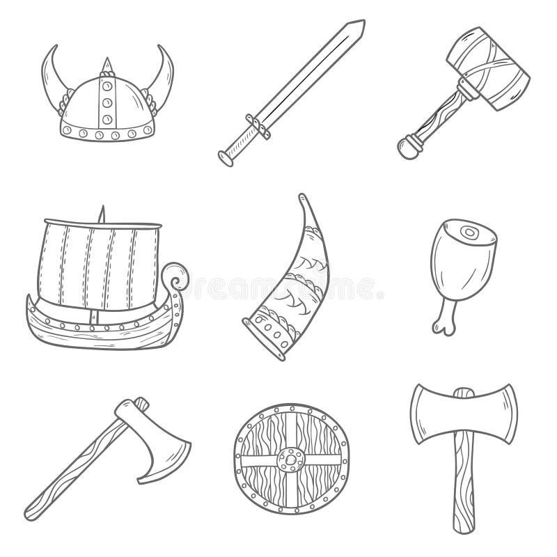 Symboler på det viking temat stock illustrationer