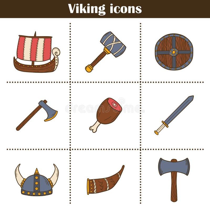 Symboler på det viking temat vektor illustrationer