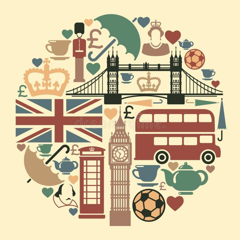 Symboler på ett tema av England vektor illustrationer