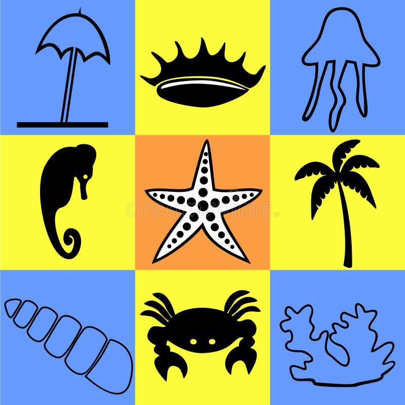 Symboler på ett tema av havet och det marin- livet vektor illustrationer
