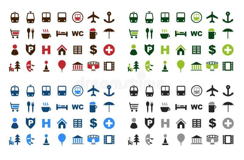 symboler planerar seten royaltyfri illustrationer