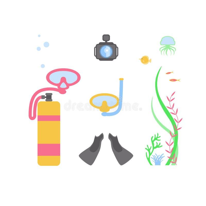 Symboler sänker designsymbolsuppsättningen Utrustning för vektorinfographicssportar för beståndsdelar för djuphavs- dykning Cylin stock illustrationer