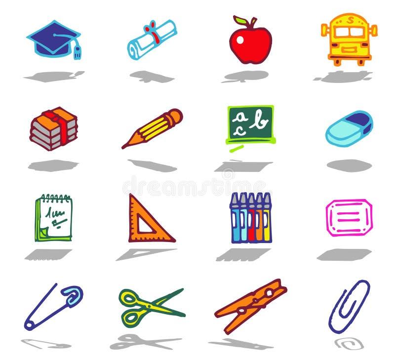 symboler school seten stock illustrationer