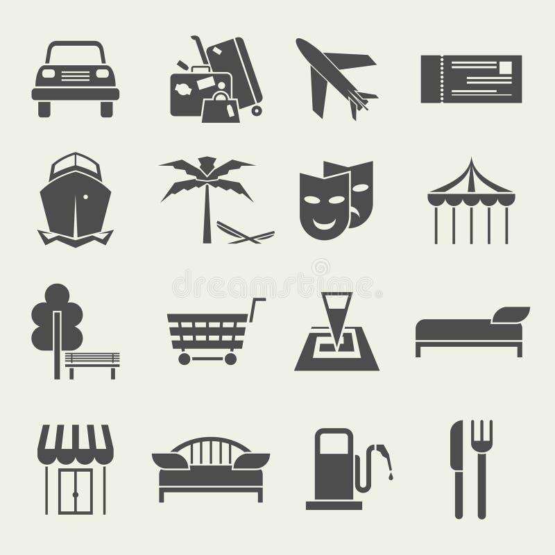 Symboler semestrar och reser i en plan stil stock illustrationer
