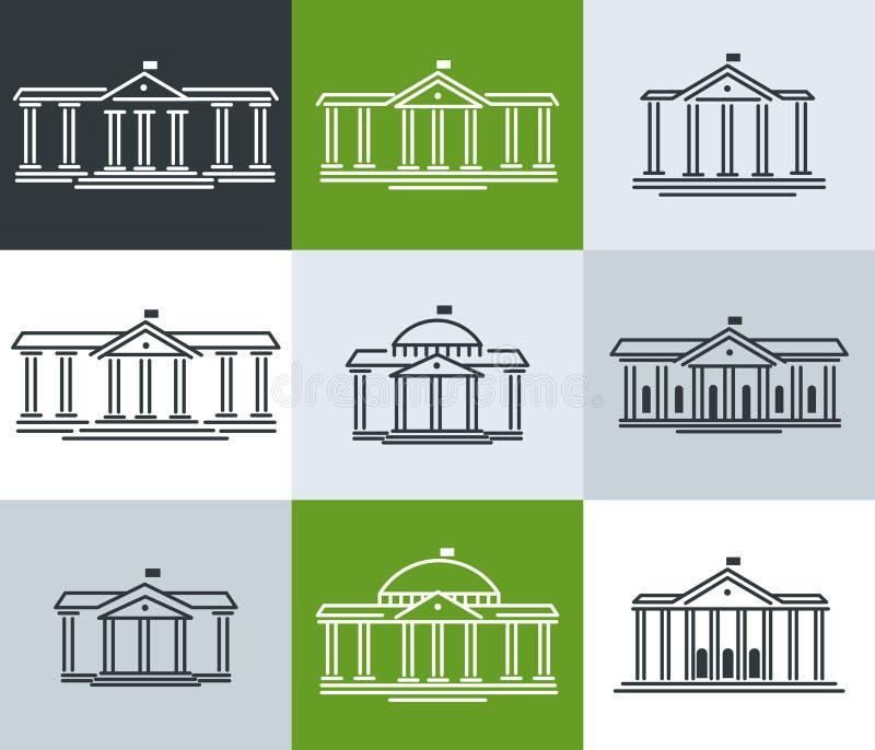 Symboler skola, utbildningsinstitution, kommun, administration, stadshus Uppsättning stock illustrationer