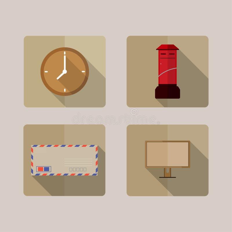 4 symboler skuggar länge royaltyfri illustrationer