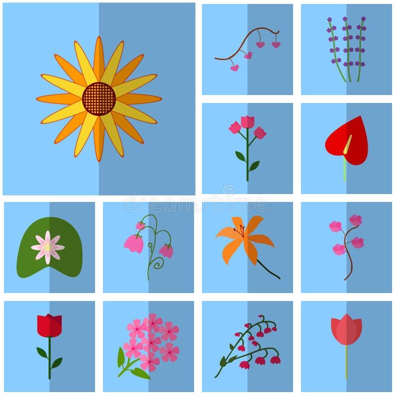 Symboler slösar, skuggar, kvadrerar, Blomning för vektorsymbolsuppsättning stock illustrationer