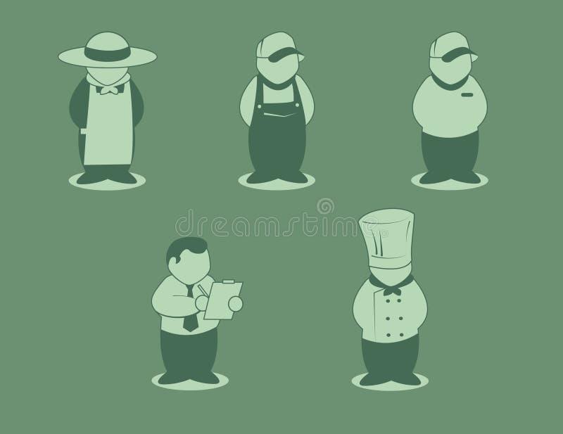Mat kedjar arbetare vektor illustrationer