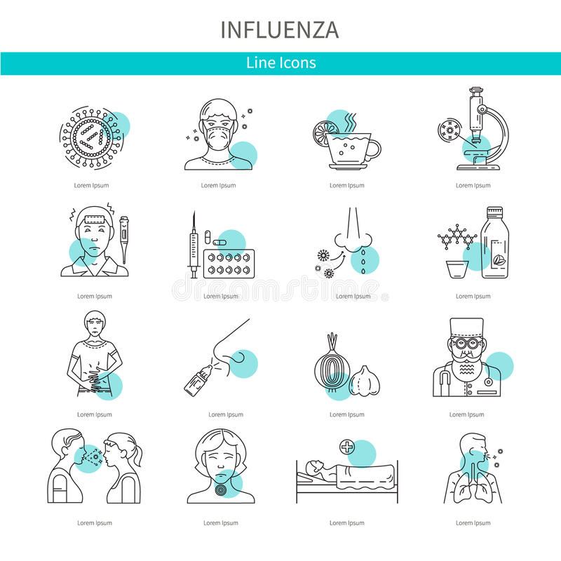 Symboler som förhindrar sjukdomen stock illustrationer