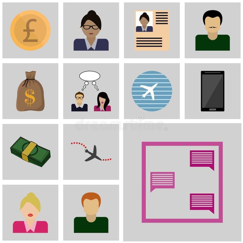 Symboler ställde in överensstämmelse för affärsvektorsymbolen, meddelande vektor illustrationer