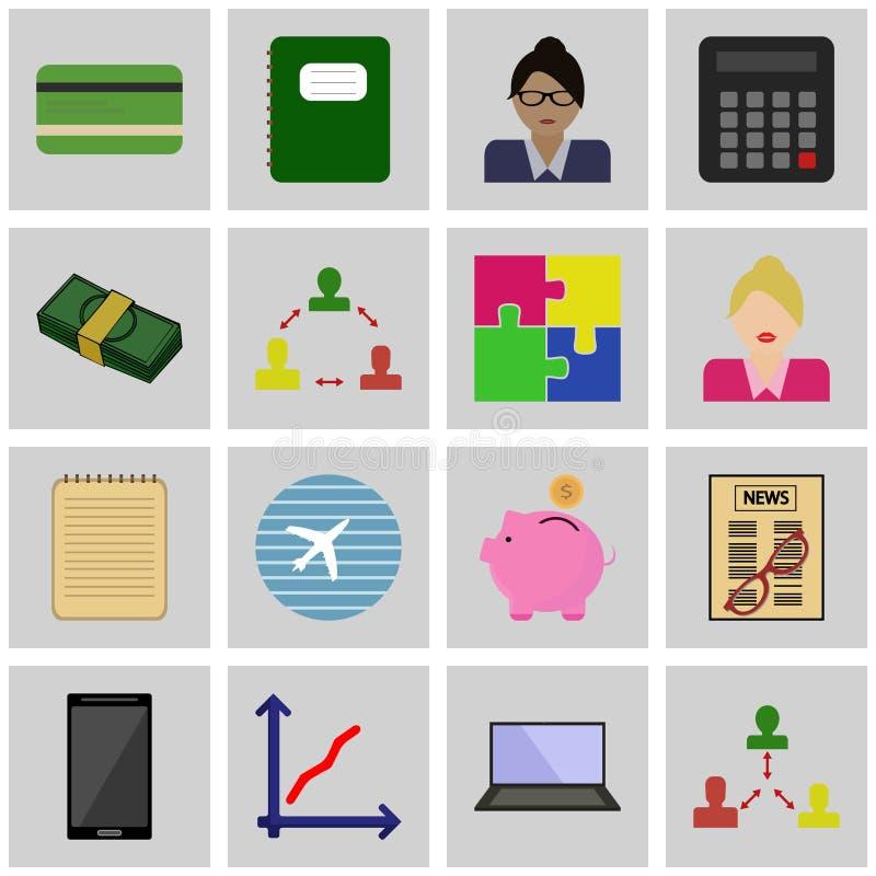 Symboler ställde in affärsvektorintäkt vektor illustrationer