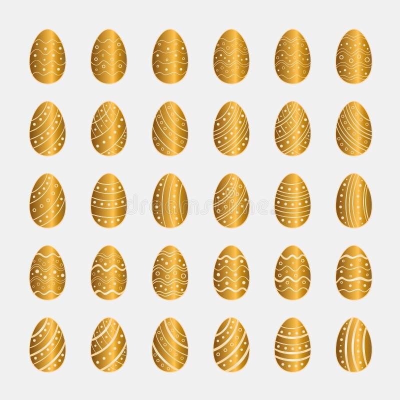 Symboler ställde in av guld- påskägg vektor illustrationer