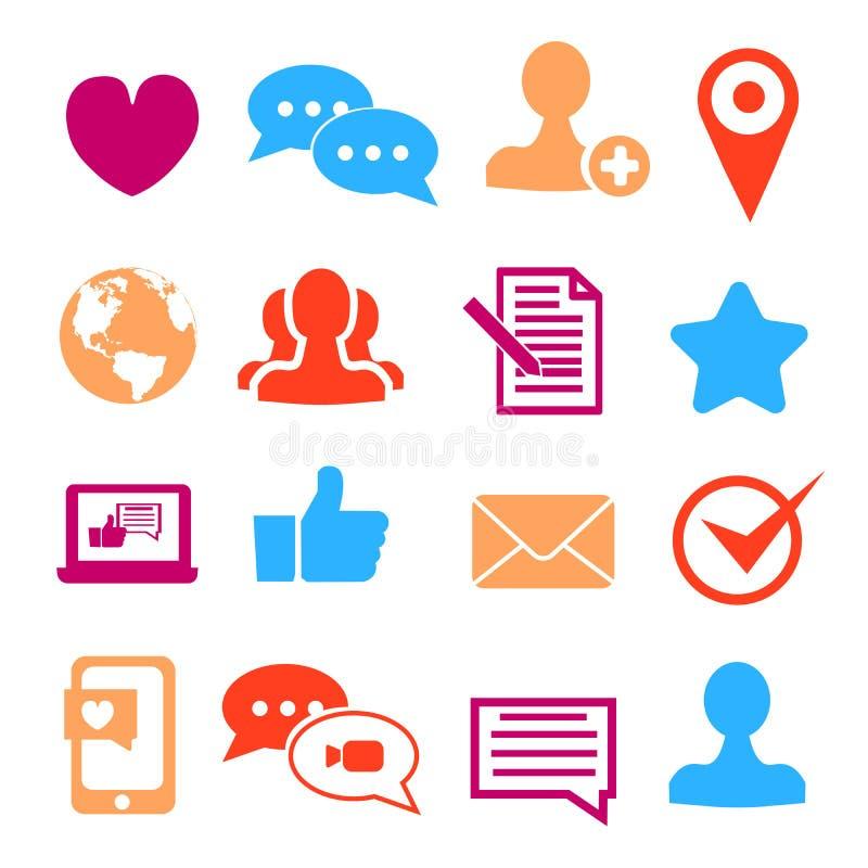 Symboler ställde in för sociala nätverks- och gemenskapplatser Plan vektorillustration vektor illustrationer