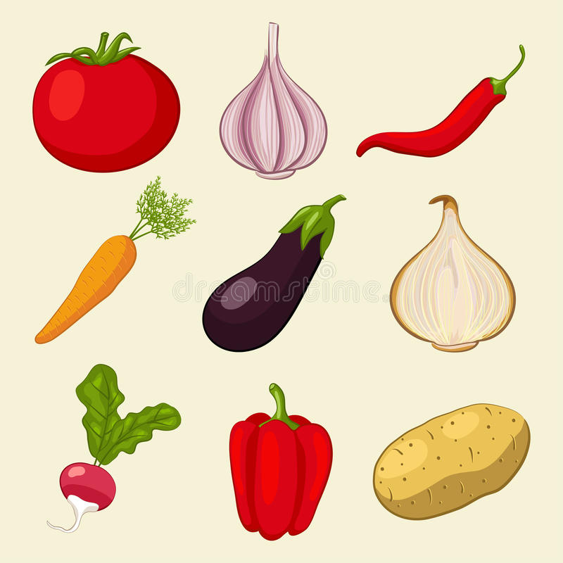 symboler ställde in grönsaker stock illustrationer
