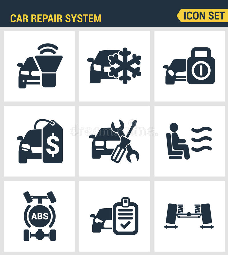 Symboler ställde in högvärdig kvalitet av service för instrumentet för bilen för symbolen för bilreparationssystemet Modern picto royaltyfri illustrationer
