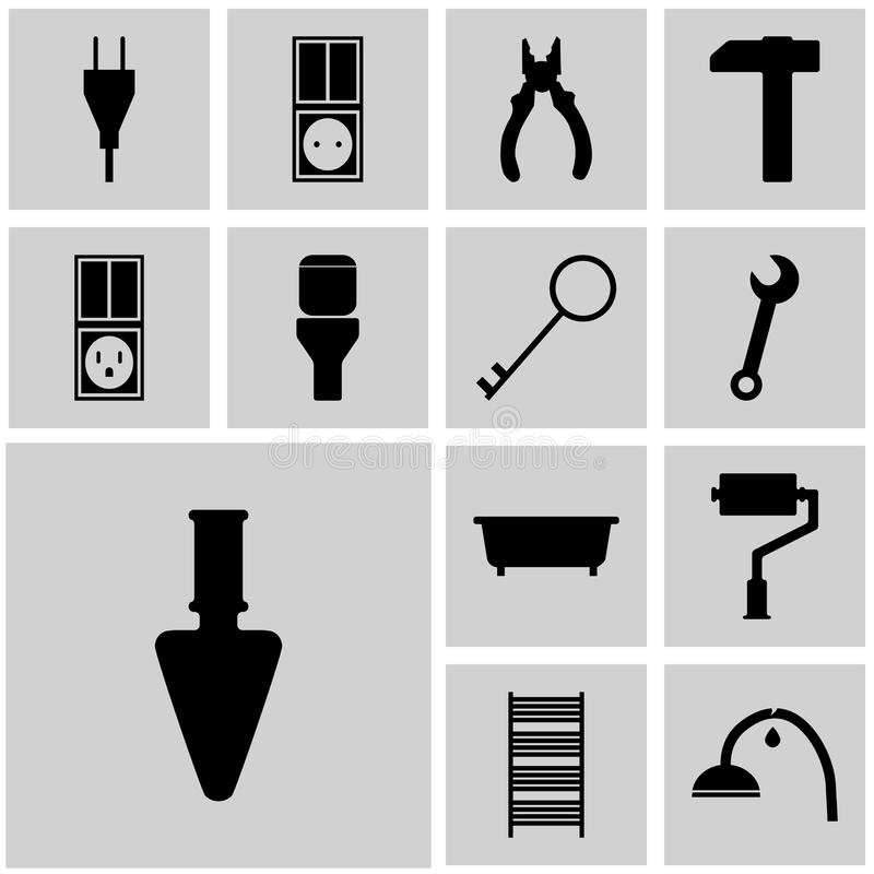 Symboler ställde in instrumentsymbolsgrå färger, fyrkantig vektorsymbolsreparation vektor illustrationer
