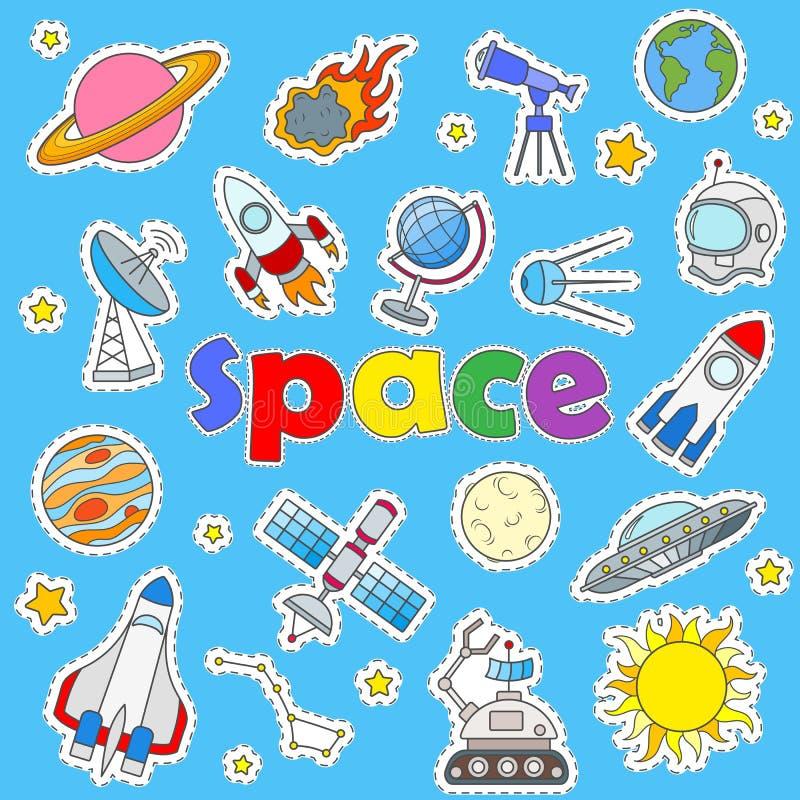 Symboler ställde in på ämnet av rymdfarten och astronomi, målade symbolslappar på en blå bakgrund royaltyfri illustrationer