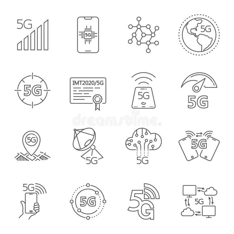 Symboler ställde in på tema av den 5th normaln för den mobila kommunikationen för utvecklingen 5G Släkta 5G linjära symboler för  vektor illustrationer