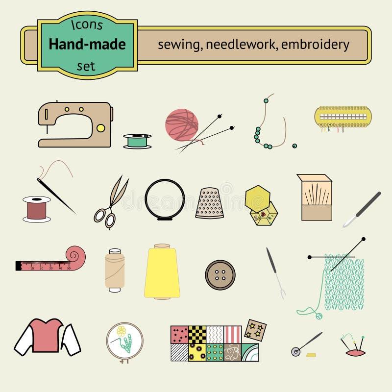 Symboler ställde in sömnaden, needlwork, handarbete stock illustrationer