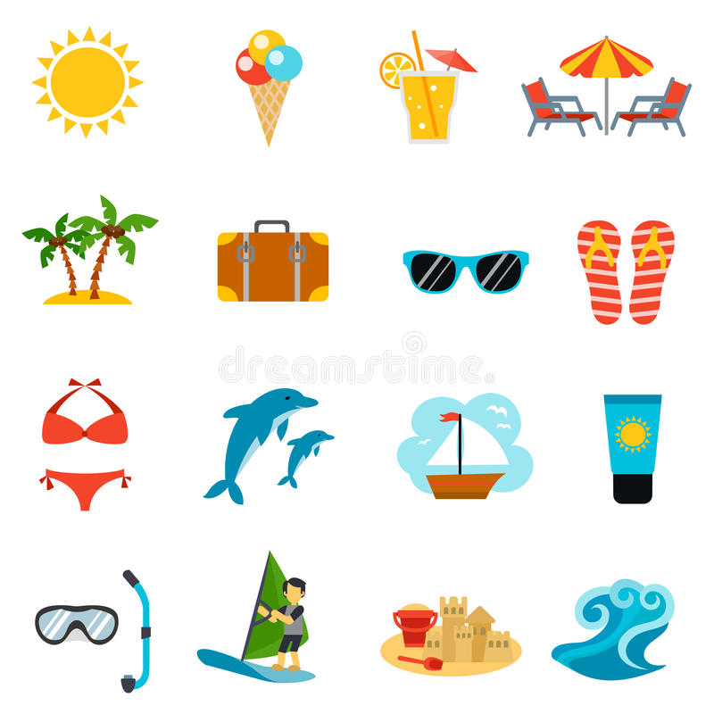 symboler ställde in sommar vektor illustrationer