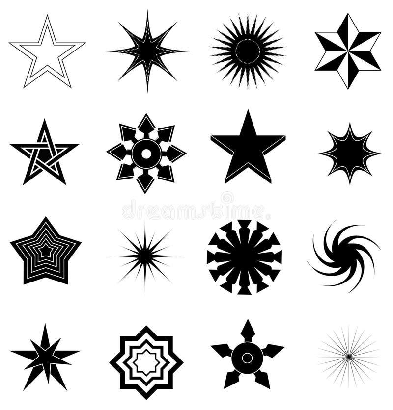 symboler ställde in stjärnan royaltyfri illustrationer
