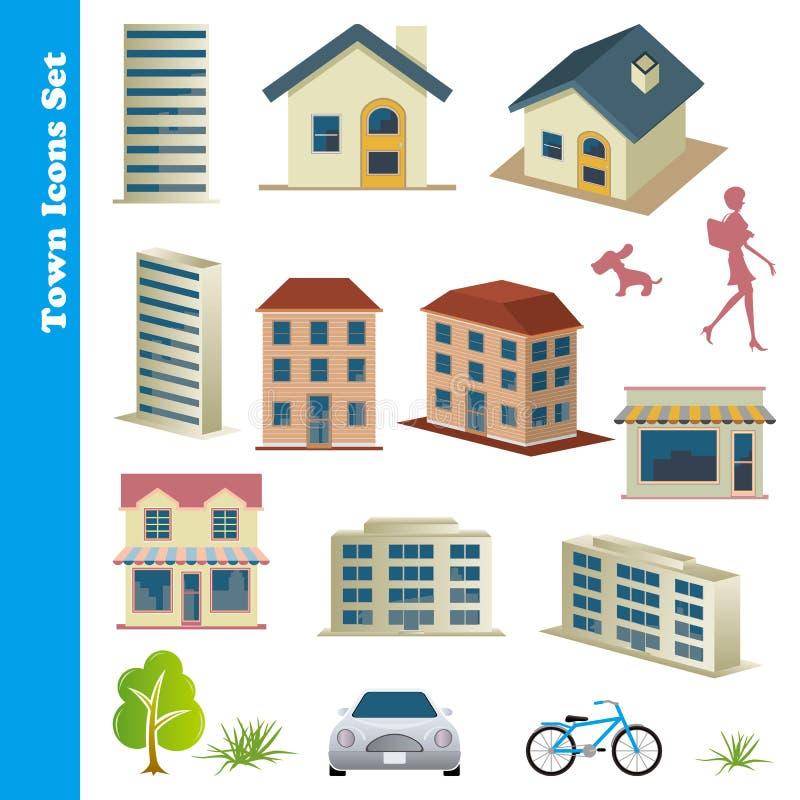 symboler ställde in townen vektor illustrationer