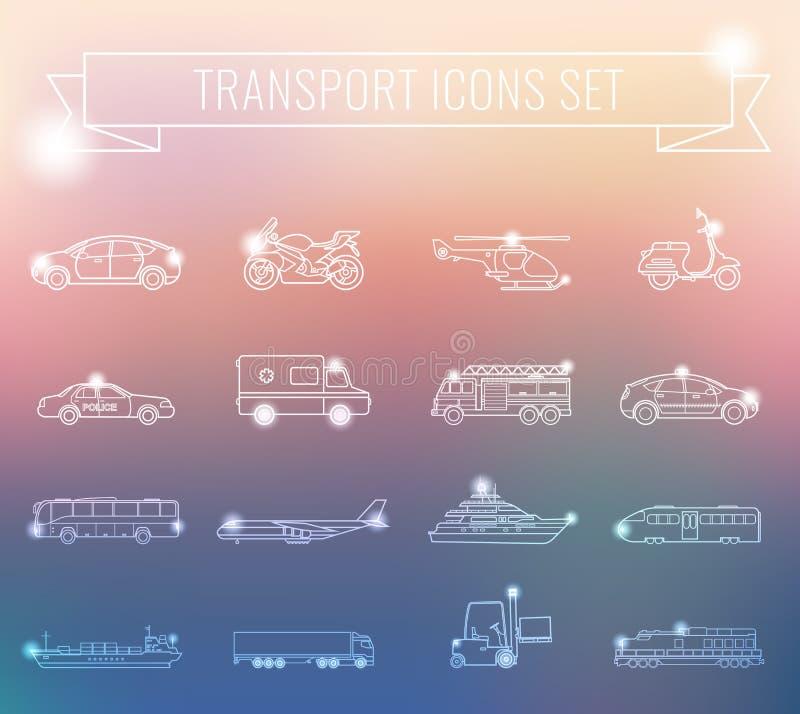 symboler ställde in trans Stadsbil- och medeltransport Bil skepp, flygplan, drev, motorcykel, helikopter översikt royaltyfri illustrationer