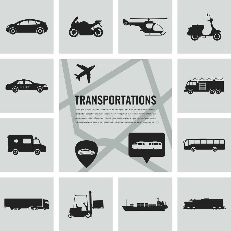 symboler ställde in trans Stadsbil- och medeltransport Bil skepp, flygplan, drev, motorcykel, helikopter vektor illustrationer