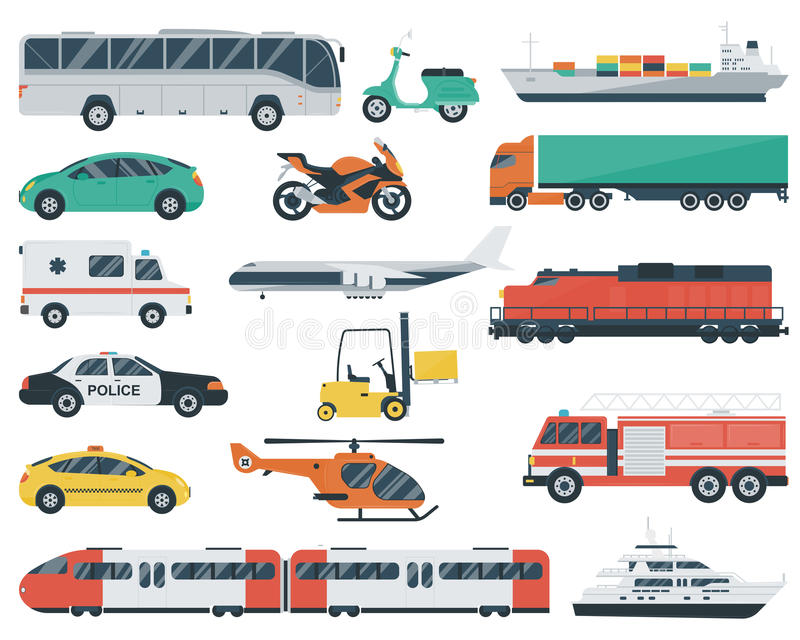 symboler ställde in trans Stadsbil- och medeltransport Bil skepp, flygplan, drev, motorcykel, helikopter plant stock illustrationer