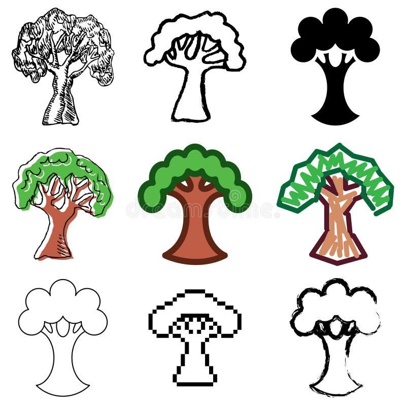 symboler ställde in treen royaltyfri illustrationer
