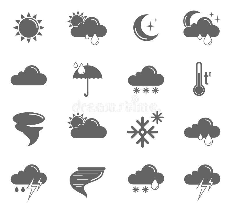 symboler ställde in väder stock illustrationer