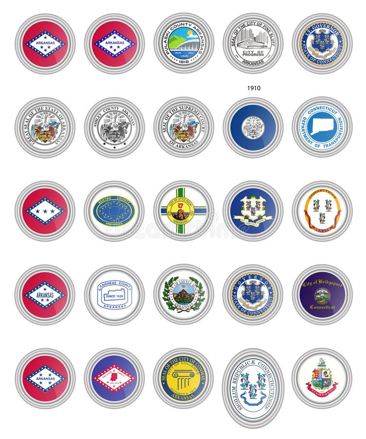 symboler st?llde in vektorn Flaggor av Arkansas och Connecticut stater, USA vektor illustrationer