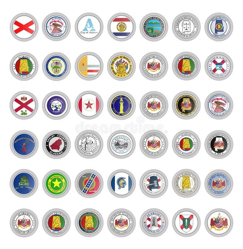 symboler st?llde in vektorn Flaggor av den Alabama staten stock illustrationer