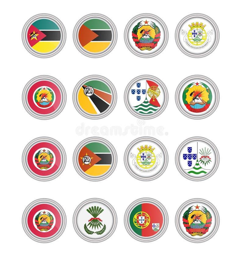symboler st?llde in vektorn Flaggor av Mocambique vektor illustrationer