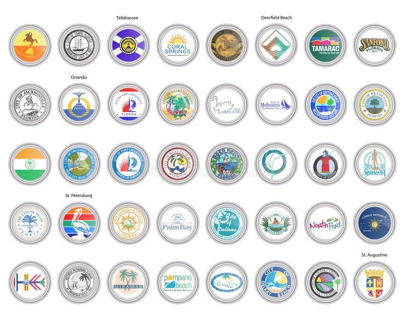 symboler st?llde in vektorn Flaggor och skyddsremsor av det Florida tillståndet, USA royaltyfri illustrationer