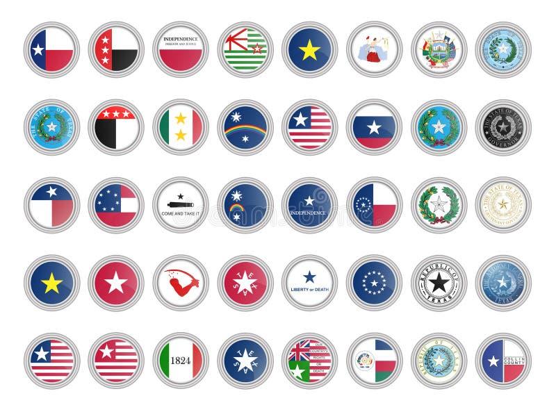 symboler st?llde in vektorn Flaggor och skyddsremsor av det Texas tillståndet, USA stock illustrationer