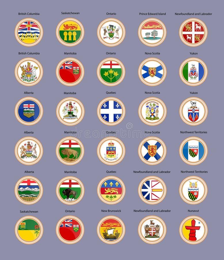 symboler st?llde in vektorn Regioner av den Kanada flaggor och vapenskölden royaltyfri illustrationer