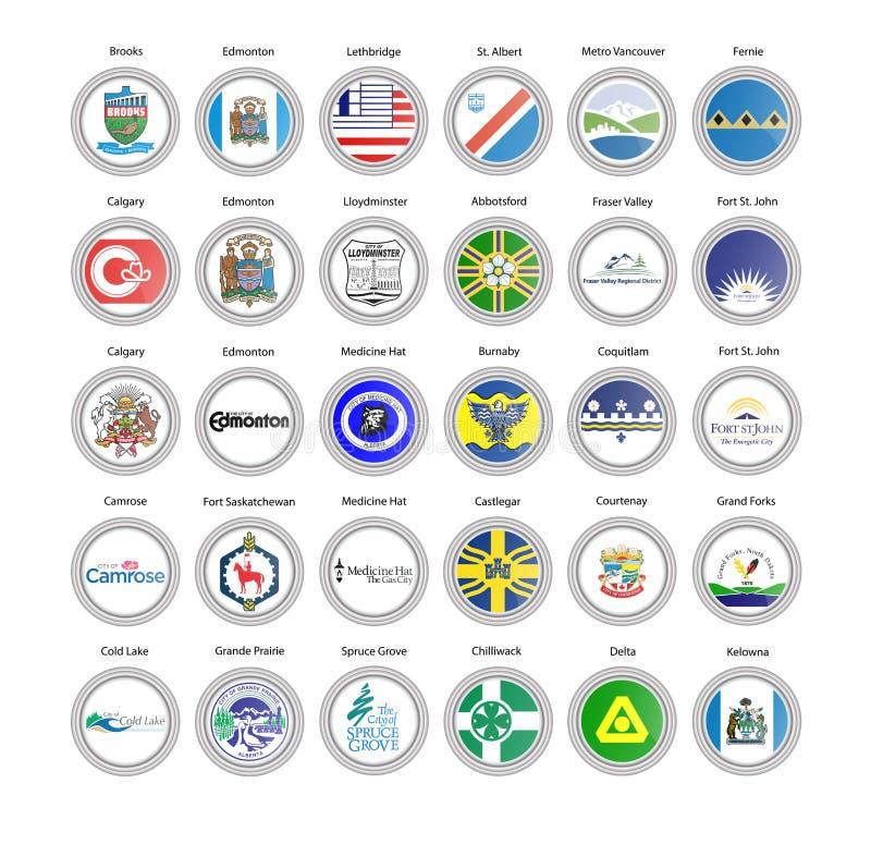 symboler st?llde in vektorn Regioner av Kanada flaggor och vapenskölden Alberta och British Columbia vektor illustrationer