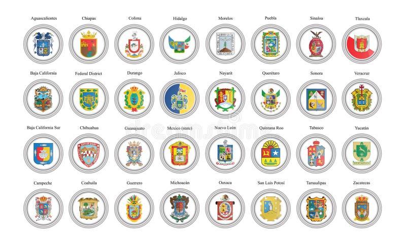 symboler st?llde in vektorn Tillstånd av Mexico flaggor vektor illustrationer