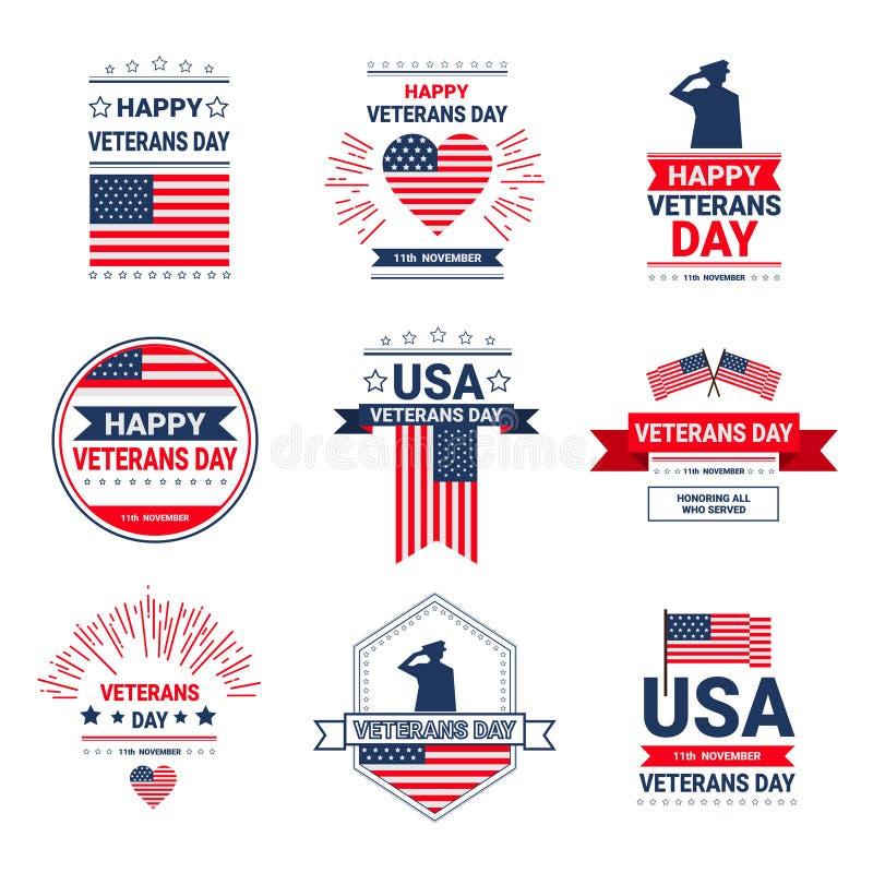 Symboler uppsättning, samling för ferie för beröm för veterandag nationella amerikanska av hälsningkortet med USA-flaggan stock illustrationer