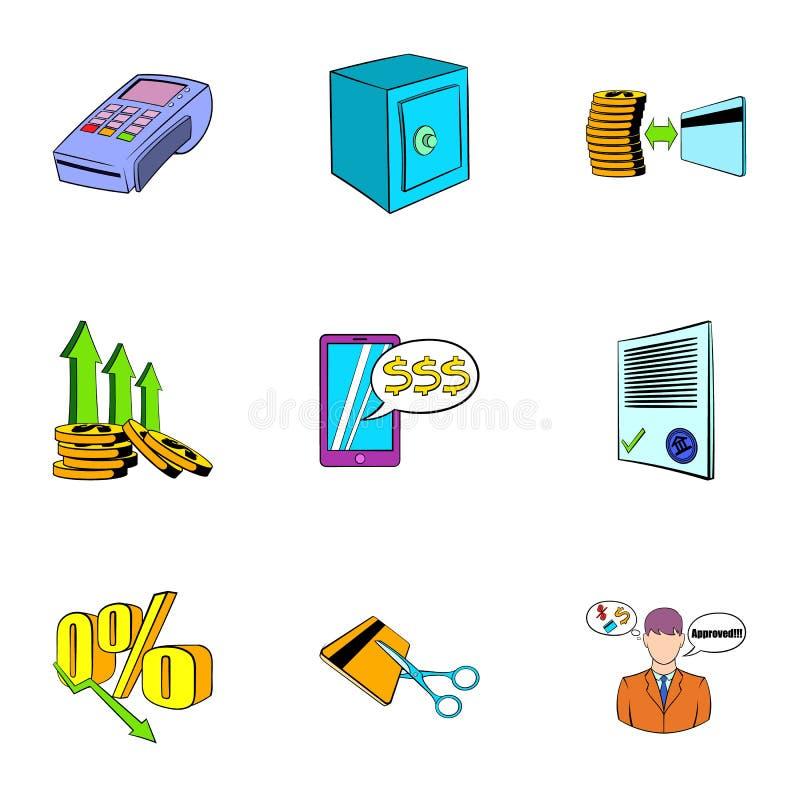 Symboler uppsättning, tecknad filmstil för auktionförsäljning stock illustrationer