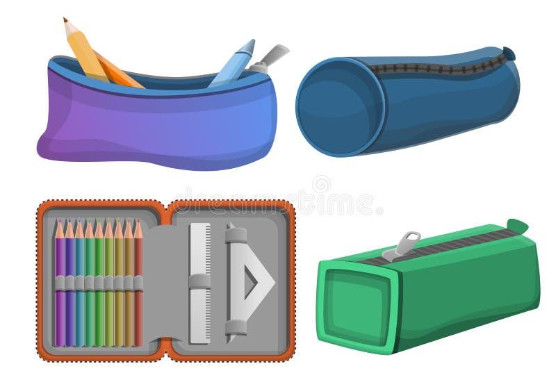 Symboler uppsättning, tecknad filmstil för blyertspennafall stock illustrationer
