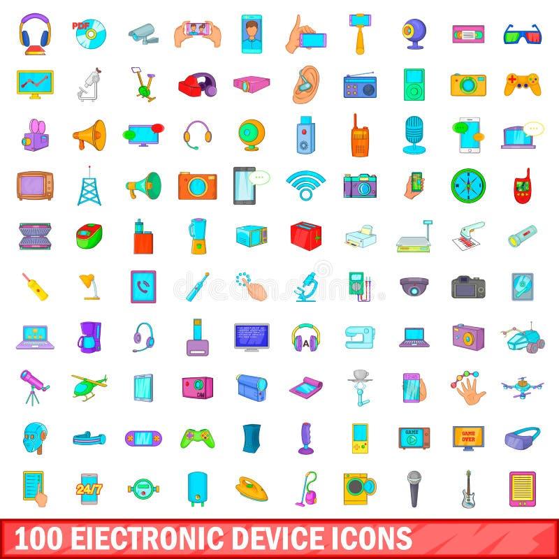 100 symboler uppsättning, tecknad filmstil för elektronisk apparat stock illustrationer