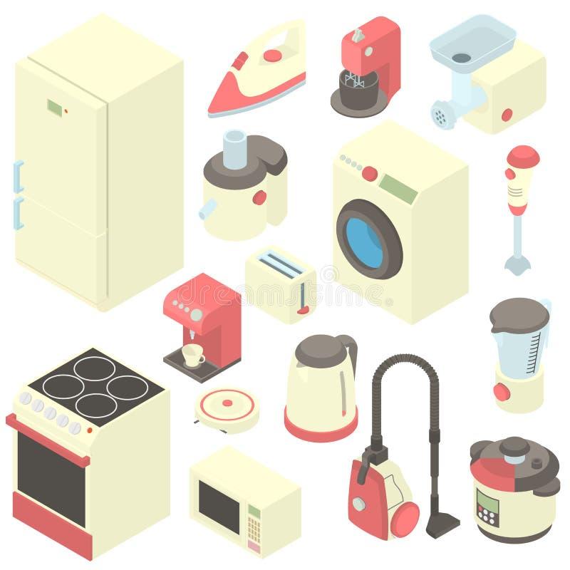 Symboler uppsättning, tecknad filmstil för hushållanordning stock illustrationer