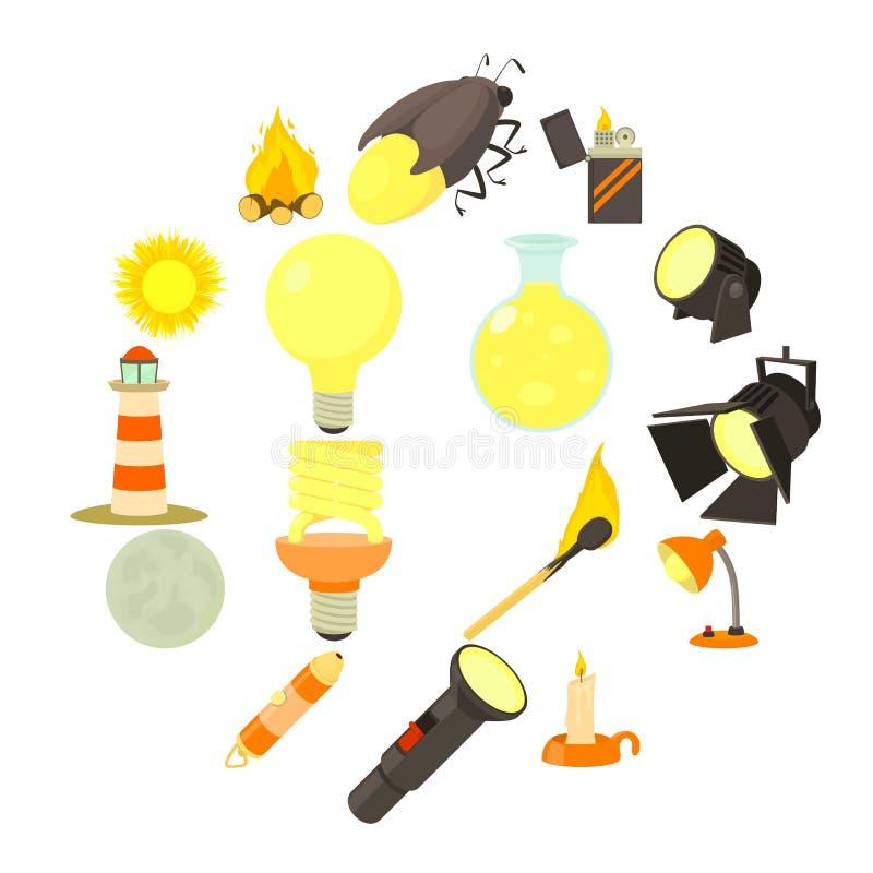 Symboler uppsättning, tecknad filmstil för ljus källa stock illustrationer