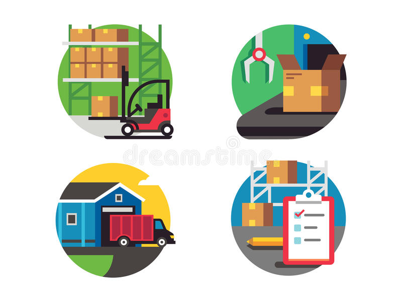 Symboler warehouse och logistiskt vektor illustrationer