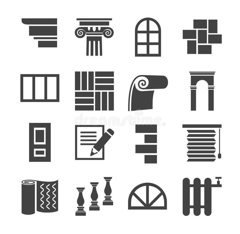 Symbolerna är plan konstruktion, fulländande material, reparation royaltyfri illustrationer
