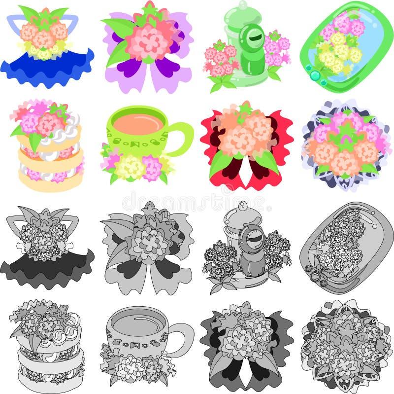 Symbolerna av blommaobjekt vektor illustrationer