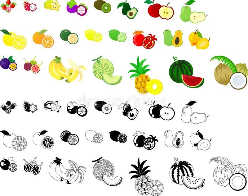 Symbolerna av frukter stock illustrationer